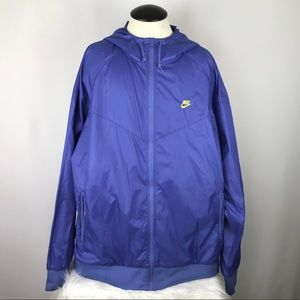 Nike Blue Windbreaker Rain Full Zip Hooded Jacket